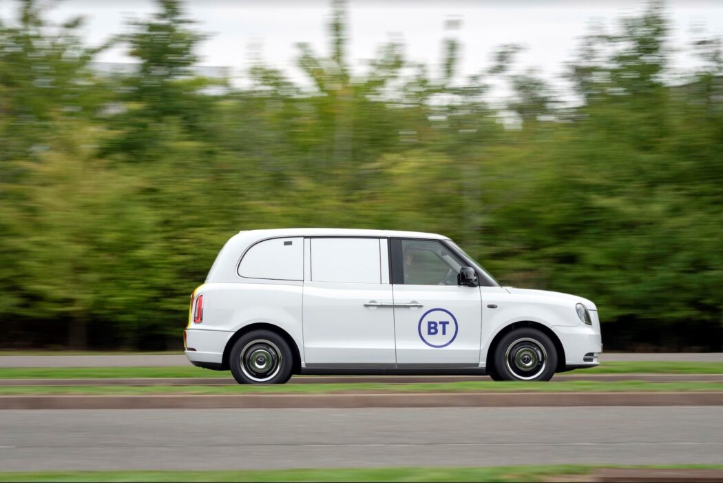 Electric vehicle from the BT fleet as part of commitment to reduce carbon emissions.