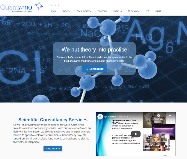 Screenshot of a page from Quantemol's business website.