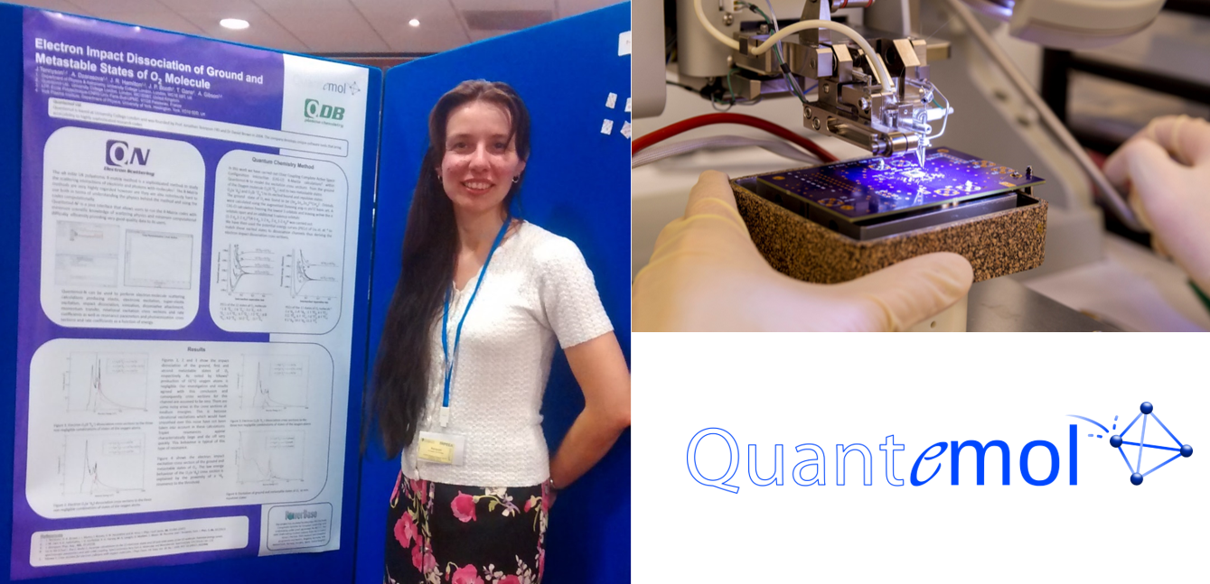 Quantemol showcasing their products at a trade event.