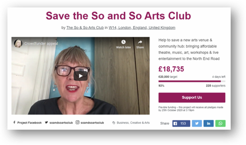 So & So Art Club's Pay It Forward campaign webpage.