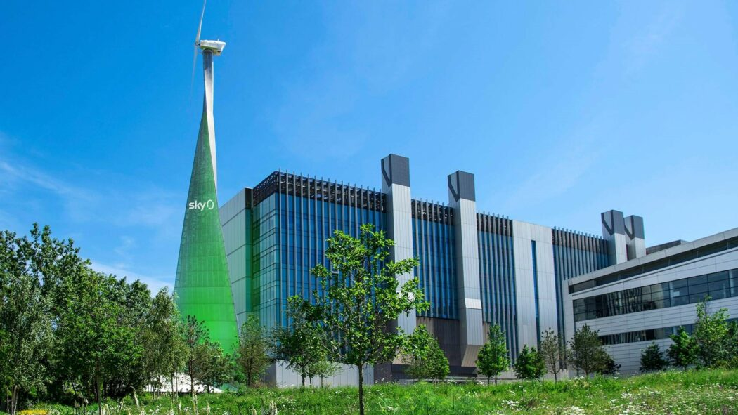 Sky premises with wind turbine to generate power.