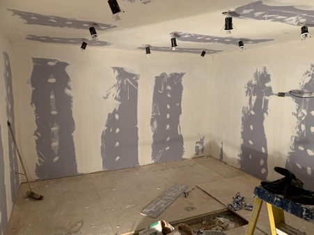 Lights getting fitted in new Hire Frequencies studio.