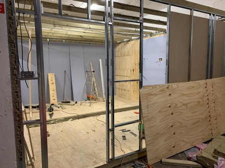 Hire Frequency studio space under construction, funded by ERDF grants.